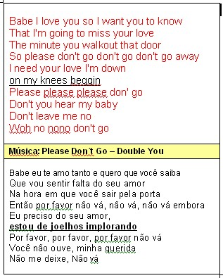 Música: Please Don´t Go - Double You